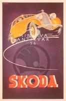 Régi Skoda automobil hirdetés. Vintage reklám plakát reprint