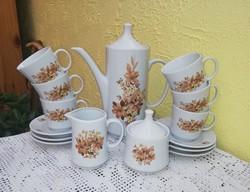6 személyes Alföldi porcelán kávéskészlet, csésze, kanna, cukortartó, tejszínes, nosztalgia