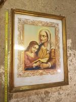 Kb.40x50-es, dombornyomott, aranyozott öreg szentkép, eredeti keretében