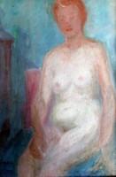 """"""" MEGLEPŐEN ÉRDEKES """" GYENES GITTA ( 1888-1960 ) ART DECO AKT OLAJ FESTMÉNY !"""