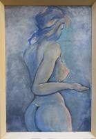 Női akt, akvarell festmény