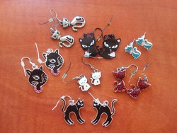 Cica, macska bizsu fülbevaló /ezüst színű, színes / 7 pár