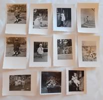 Régi gyerekfotó 1940 körül vintage fénykép kislány kisfiú 11 db
