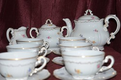 Zsolnay barokkos tollazott, szórt virágos teáskészlet  02