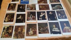 Régi 20 darabos, festmény mappa, postatiszta képeslap mappa eladó