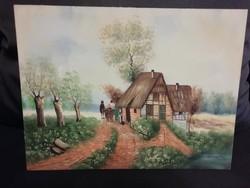 Kortárs kis vászon festmény, tanyasi életkép