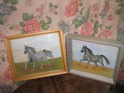 Vintage lovas festmény fa keretben