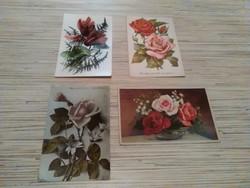 Antik virágos üdvözlő képeslapok