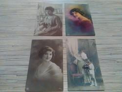 Antik képeslapok hölgyek portréjával.