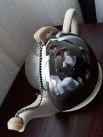 Fajansz teás kanna thermo fém sisak kombinációja,bakelit kiegészítővel - angol vintage,DESIGN termék
