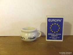 Régi antik német feliratos mini, miniatűr porcelán bili - antik baba kellék