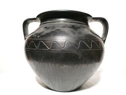 Nádudvari fekete jelzett edény 20 cm (89)