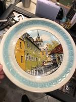 Segesvári porcelán tányér, gyönyörű hibátlan darab, 32 cm-es.