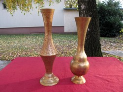 Cizellált, vésett réz váza (30/33cm)