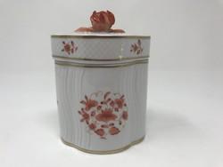 Hollóházi Pannónia Collection bonbonier plasztikus rózsával