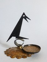 Ritka,retro,vintage fém,vörösréz talapzatú,madár alakú,holló alakú asztaldísz