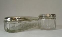 0U124 Régi ezüst fedeles üveg piperés doboz pár