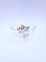 Festett üveg kínáló - háromlábú üveg tálka, cukorka tartó