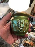 Zsolnay eozin mázas régi váza, 8 cm-es, ritka gyüjtői darab