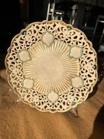 Antik Zsolnay áttört tányér, dísztányér a Reneszánsz sorozatból