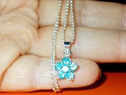 Akvamarin kis Virág 925 ezüst - Fehérarany Gyöngyfüzér finom Nyaklánc