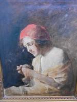 Ármin Glatter (1861-1933) sewing girl.1910s. Original.