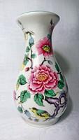 OLD FOLEY Jemes Kent LTD Chienese Rose  Szépséges mintás madár és virág jelenetes zöld peremes váza