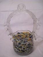 Muránói üveg kosár díszüveg kínáló asztalközép 18cm