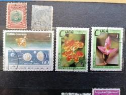 KUBA 5db használt bélyeg.