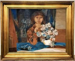 Scholz Erik (1926 - 1995) Virágos leány c.Képcsarnokos olajfestmény 95x75cm EREDETI GARANCIÁVAL !