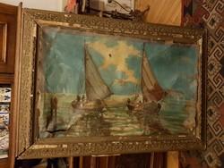Vélhetően magyar mester, félig tönkretett festménye, grandiózus, eredeti keretében