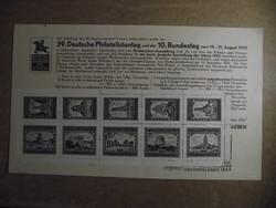 BRIEFMARKENAUSSTELLUNG 1933 ASCHERSLEBEN bélyegív, sorszámozott emléklappal, Ritkaság