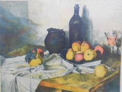 Surányi nándor: still life with glass, colored etching. High quality, flawless piece.