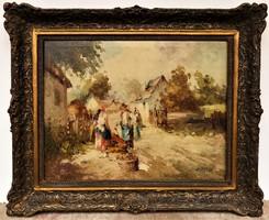 Ismeretlen Magyar festő Életkép , Ács Ágoston stílusában megfestve 1930- körüli 100x85 cm