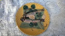 Antik Fajansz tál-dísztányér-falitál halakkal, tavirózsával  ám.23 cm ép-szép db