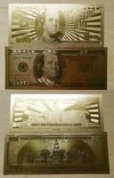 100 dollár 2 fajta aranyozott fantázia bankjegy fix 3000.-Ft + posta