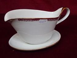 Jarolina lengyel porcelán szószos tál alátéttel együtt. Bordó/arany szegélyes.