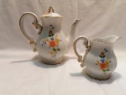 Zsolnay porcelán kávés és tejszínes kiöntő