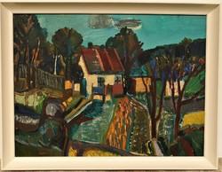 Gaál Domokos (1940-2009) Kis ház c. Képcsarnokos festménye 86x66cm EREDETI GARANCIÁVAL !!