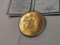 Ferenc József arany emlékérme 13,96 gramm 0,986 Ritka,csak 140 db!!