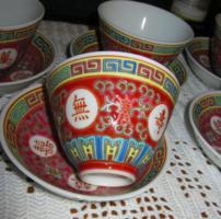 6 db Kínai  Famille rose csésze  és tálka