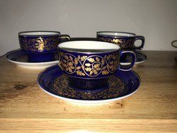 Hollóháza Hollóházi kék arany mintés makkos teás csésze szett 3 db