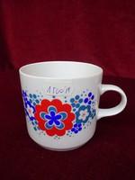Alföldi porcelán bögre piros/zöld/kék mintával.