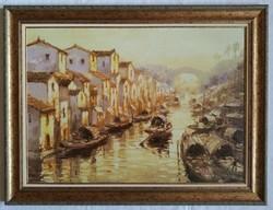 """Bánfalvy Ákos """"Csatorna Sanghajban"""" olajfestmény keretben ingyenes házhoz szállítással"""