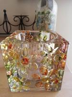 Meseszép 1,5 kg-os üveg kocka tárolónak, vázának, levélnehezéknek