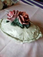 ENS porcelán bonbonier dupla rózsás
