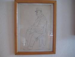 Tihanyi Piroska /1911-1994  /  tusrajz  : Az öreg   28x40  cm és  38x48  cm kerettel