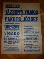 Régi plakát vázsonyi pakots emlékest 1930 as évek