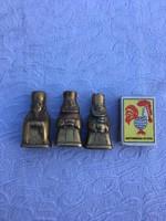 3 darab Indiából hozott kézműves réz Indiai figura - szobor - vallás