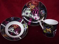 Monster High porcelán reggeliző szett, kistányér, müzlis tál, csésze.